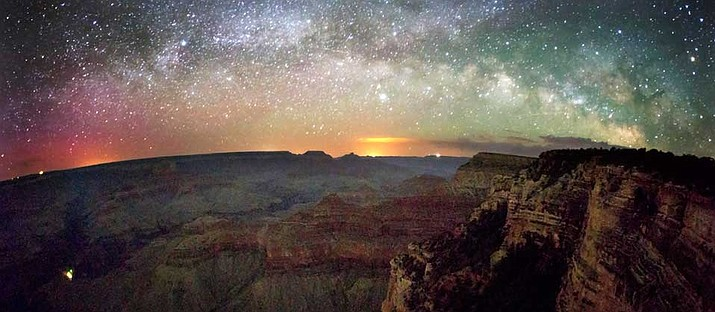 The Milky Way stretches across the sky just after sunset. Photo/NPS