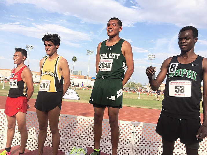 Tuba City High School senior Vaughn Jackson was the State Championship Individual winner in Division III for the 1,600 meter run. Jackson has been a Tuba City stand-out runner since elementary school. Photo/Rosanda Suetopka