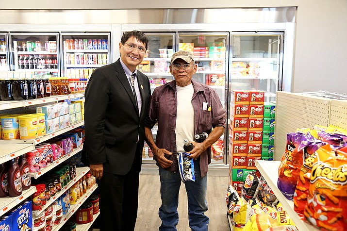 Navajo Nation Vice President Jonathan Nez greets a customer during  the grand opening of the Shonto Marketplace. Submitted photo