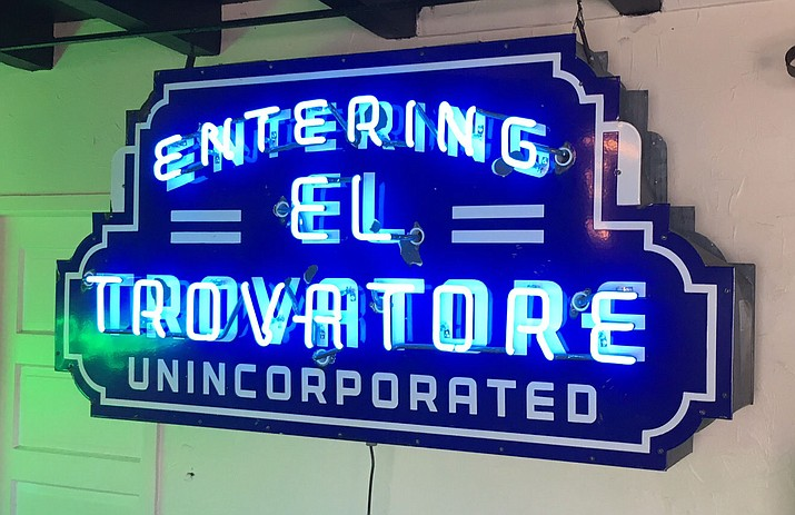 "The ""Entering El Trovatore"" sign has reappeared on Route 66 in Kingman."