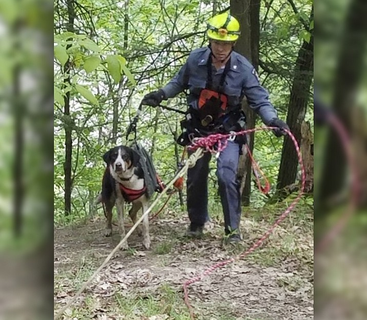 "In this May 23, 3017, photo provided by New York State Office of Parks, Recreation and Historic Preservation, New York State Parks Police Officer Ryan Clancy, escorts ""Skippy"" just after using a harness and ropes to rescue the dog in Letchworth State Park, near Mount Morris, N.Y. Skippy was stranded about half-way down a 400-cliff in the Genesee River gorge. (Lt. James Hy/New York State Park Police via AP)"