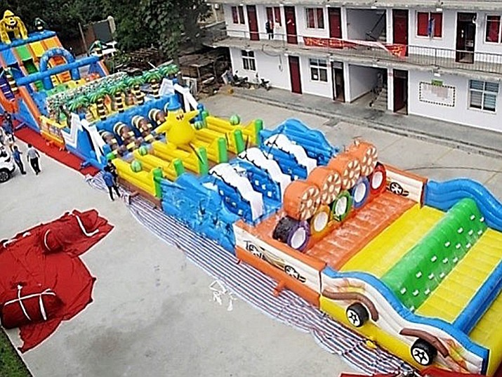 The stolen obstacle course is 180 feet (55 meters) long and 25 feet (8 meters) wide when inflated.