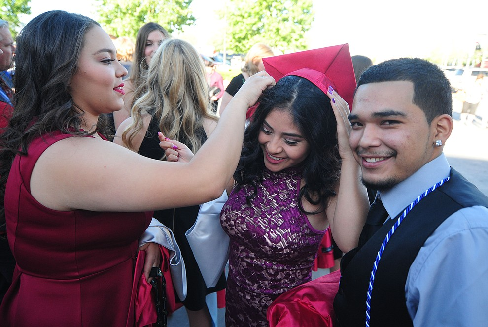 Irene Pieto, Sarai Meza and Lawrence Rogers before the Bradshaw Mountain Class of 2017 held their Commencement at the Prescott Valley Event Center  Thursday, May 25. The class had 346 students that earned over $5 million in scholarships and had numerous enlistees in the military service. (Les Stukenberg/Courier)