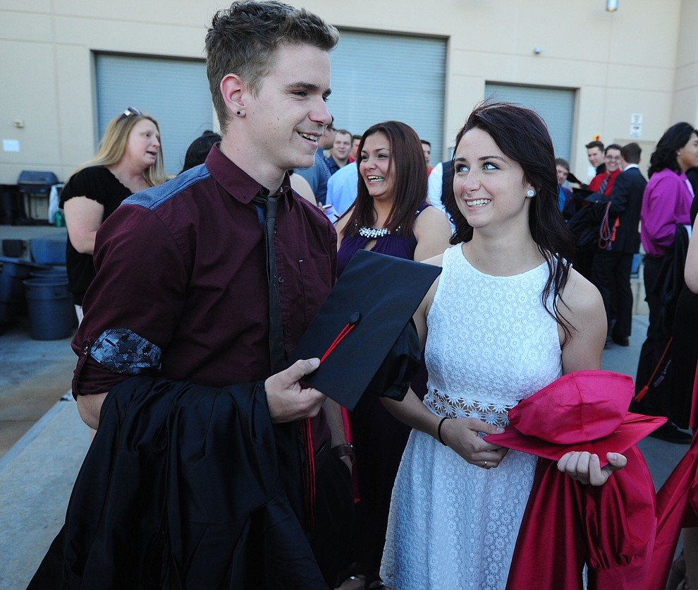 Tristen Martin and Kelly Girgenti before the Bradshaw Mountain Class of 2017 held their Commencement at the Prescott Valley Event Center  Thursday, May 25. The class had 346 students that earned over $5 million in scholarships and had numerous enlistees in the military service. (Les Stukenberg/Courier)