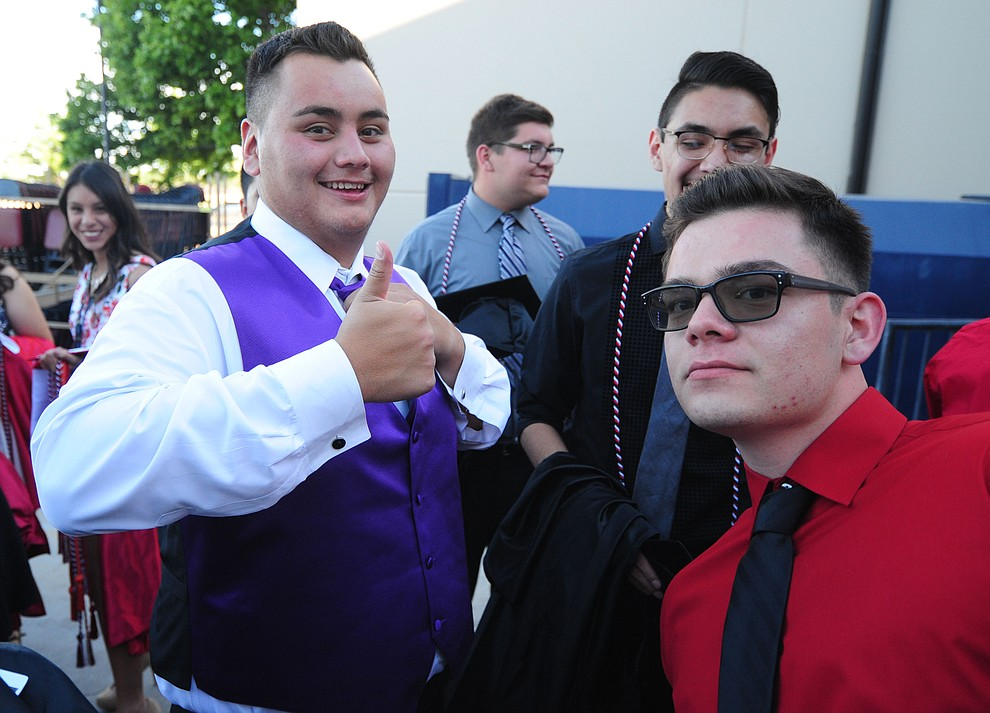 Angel Sanchez, Victor Jimenez and David Gonzalez before the Bradshaw Mountain Class of 2017 held their Commencement at the Prescott Valley Event Center  Thursday, May 25. The class had 346 students that earned over $5 million in scholarships and had numerous enlistees in the military service. (Les Stukenberg/Courier)