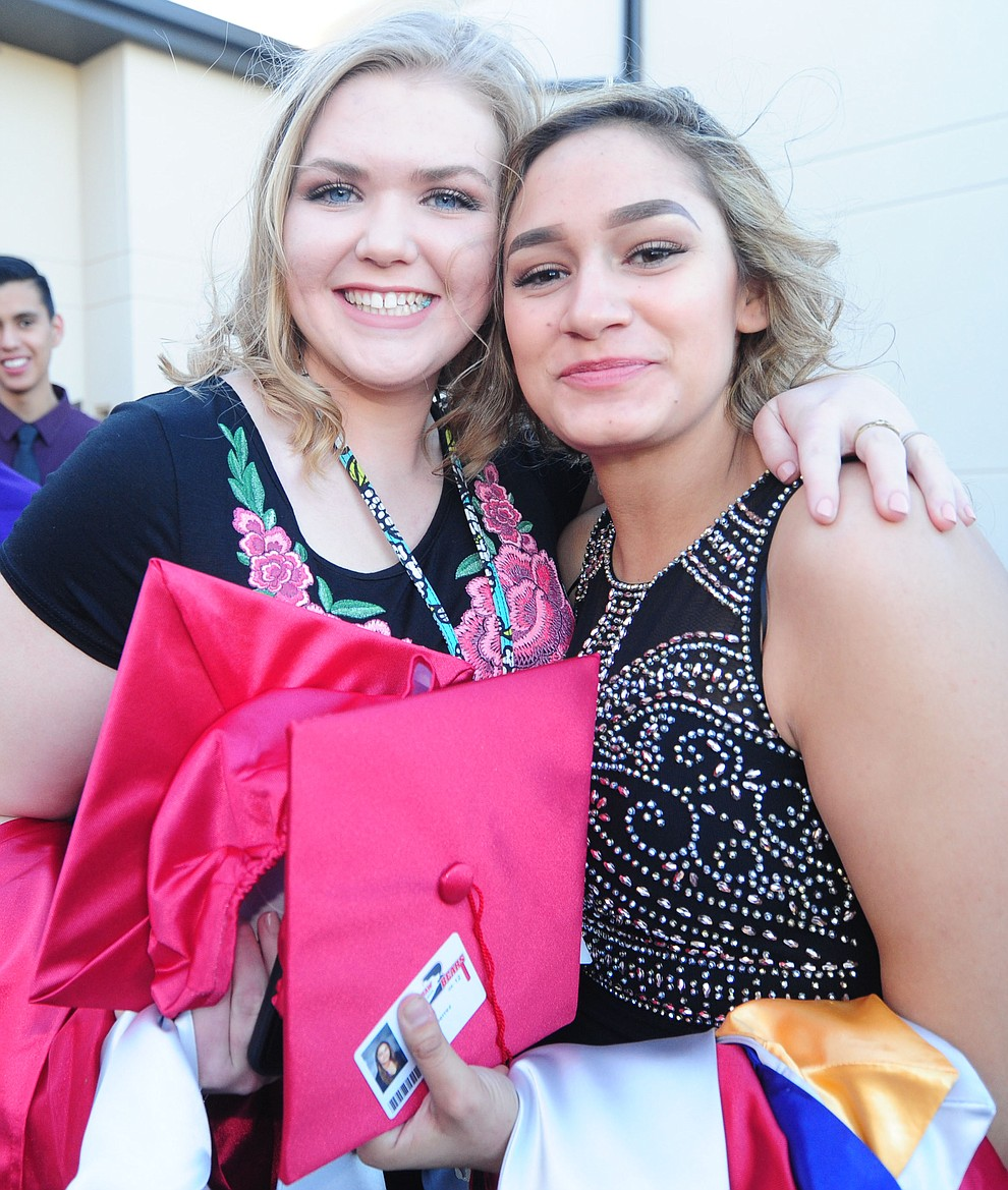 Mandi Muckey and Franceny Gardea before the Bradshaw Mountain Class of 2017 held their Commencement at the Prescott Valley Event Center  Thursday, May 25. The class had 346 students that earned over $5 million in scholarships and had numerous enlistees in the military service. (Les Stukenberg/Courier)