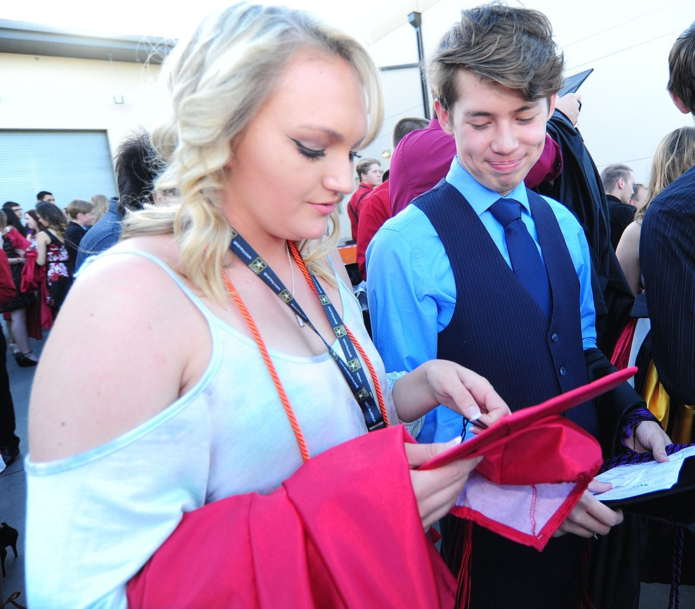 Taylor Schmidt and Tyler Manibusan before the Bradshaw Mountain Class of 2017 held their Commencement at the Prescott Valley Event Center  Thursday, May 25. The class had 346 students that earned over $5 million in scholarships and had numerous enlistees in the military service. (Les Stukenberg/Courier)