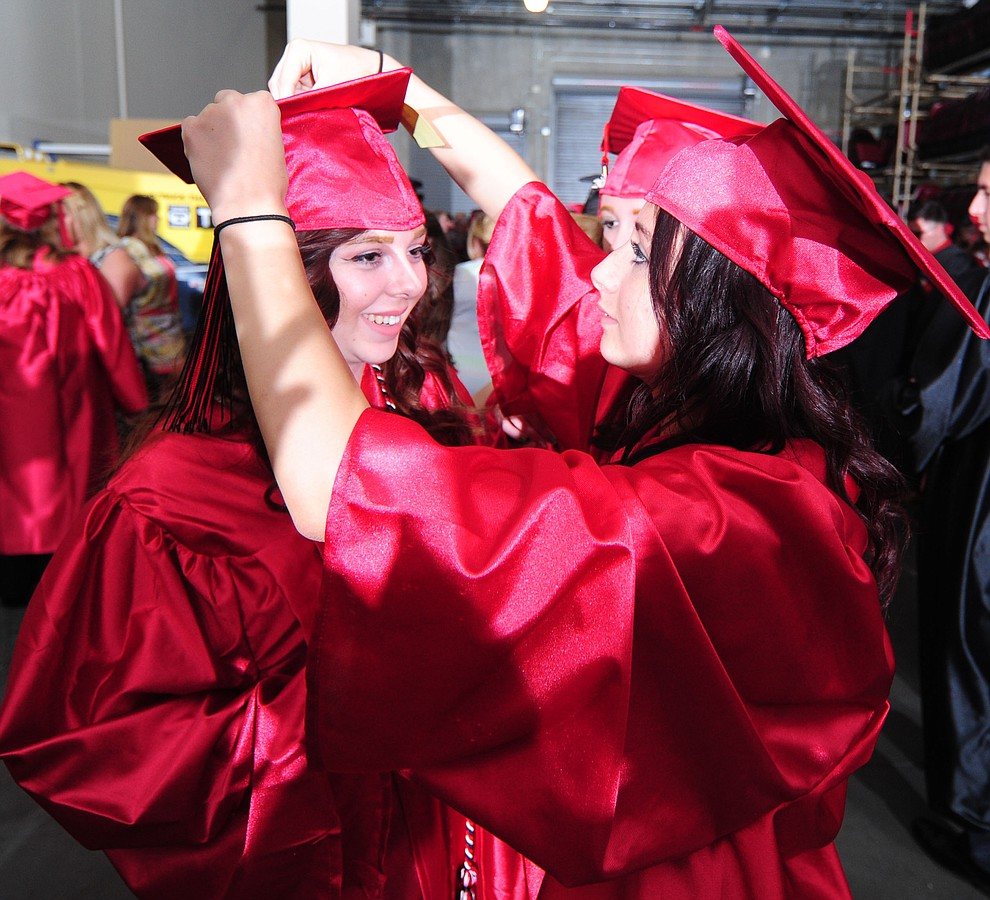Brianne Hualde and Kelly Girgenti before the Bradshaw Mountain Class of 2017 held their Commencement at the Prescott Valley Event Center  Thursday, May 25. The class had 346 students that earned over $5 million in scholarships and had numerous enlistees in the military service. (Les Stukenberg/Courier)