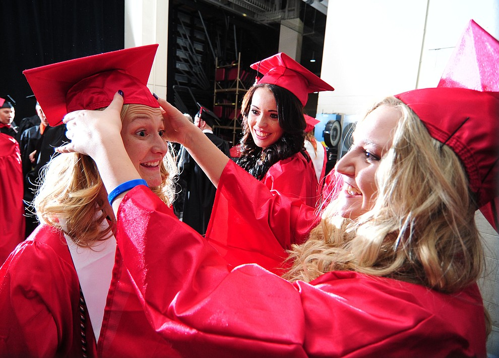 Samantha Shroeher Roberts, Ashley Trefethen and Shelby Stack before the Bradshaw Mountain Class of 2017 held their Commencement at the Prescott Valley Event Center  Thursday, May 25. The class had 346 students that earned over $5 million in scholarships and had numerous enlistees in the military service. (Les Stukenberg/Courier)