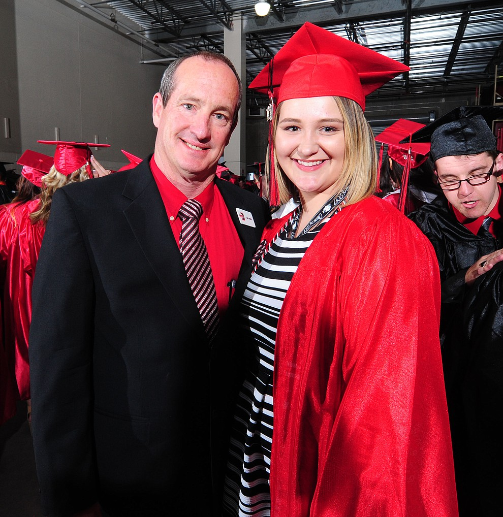 Principal Kort Miner and Amber Weaver before the Bradshaw Mountain Class of 2017 held their Commencement at the Prescott Valley Event Center  Thursday, May 25. The class had 346 students that earned over $5 million in scholarships and had numerous enlistees in the military service. (Les Stukenberg/Courier)