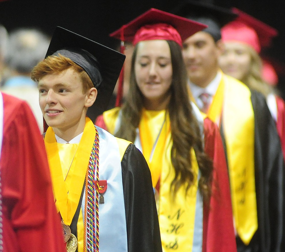 The processional march as the Bradshaw Mountain Class of 2017 held their Commencement at the Prescott Valley Event Center  Thursday, May 25. The class had 346 students that earned over $5 million in scholarships and had numerous enlistees in the military service. (Les Stukenberg/Courier)