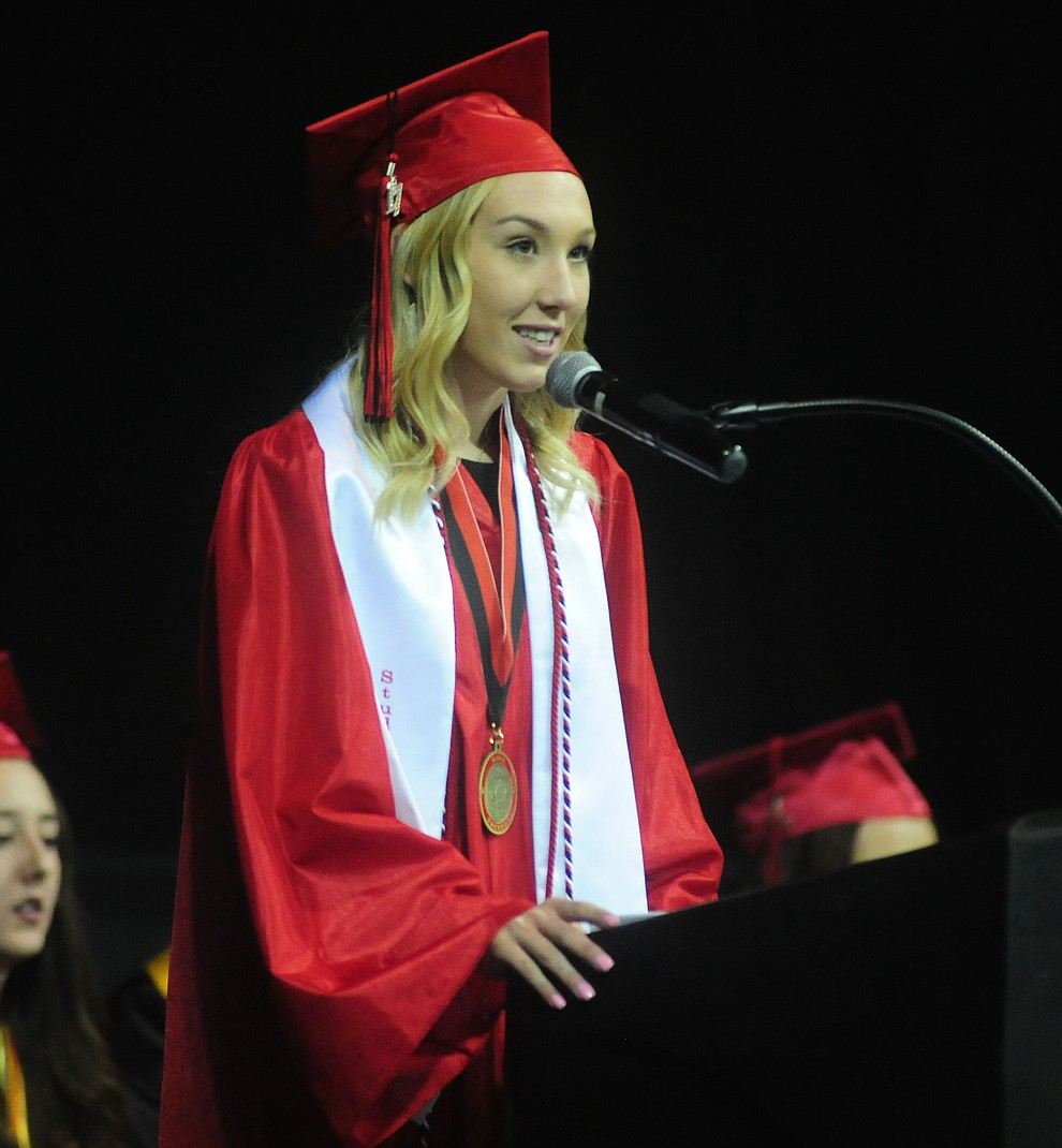 Student Body President Katherine Brannan speaks as the Bradshaw Mountain Class of 2017 held their Commencement at the Prescott Valley Event Center  Thursday, May 25. The class had 346 students that earned over $5 million in scholarships and had numerous enlistees in the military service. (Les Stukenberg/Courier)