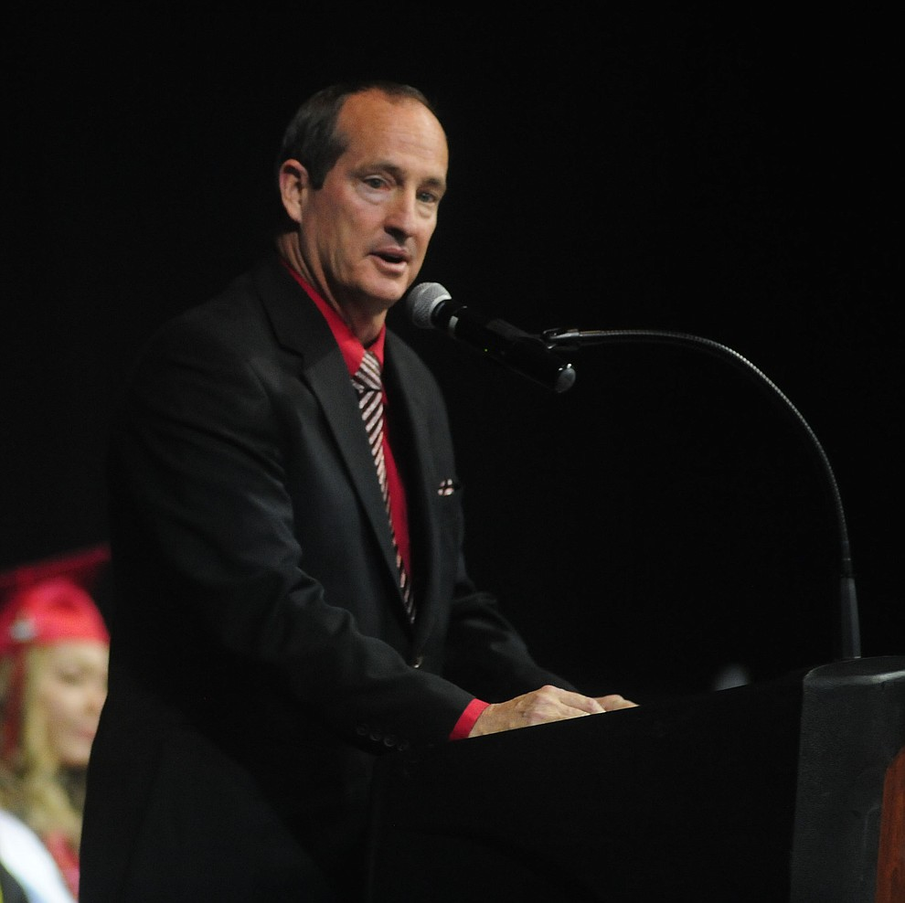Principal Kort Miner speaks as the Bradshaw Mountain Class of 2017 held their Commencement at the Prescott Valley Event Center  Thursday, May 25. The class had 346 students that earned over $5 million in scholarships and had numerous enlistees in the military service. (Les Stukenberg/Courier)