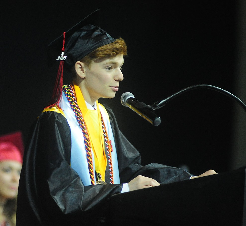Valedictorian Ben Delamater speaks as the Bradshaw Mountain Class of 2017 held their Commencement at the Prescott Valley Event Center  Thursday, May 25. The class had 346 students that earned over $5 million in scholarships and had numerous enlistees in the military service. (Les Stukenberg/Courier)