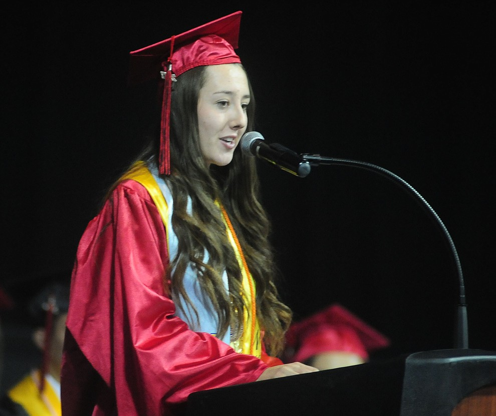 Co-Salutatorian Randee Clifford speaks as the Bradshaw Mountain Class of 2017 held their Commencement at the Prescott Valley Event Center  Thursday, May 25. The class had 346 students that earned over $5 million in scholarships and had numerous enlistees in the military service. (Les Stukenberg/Courier)