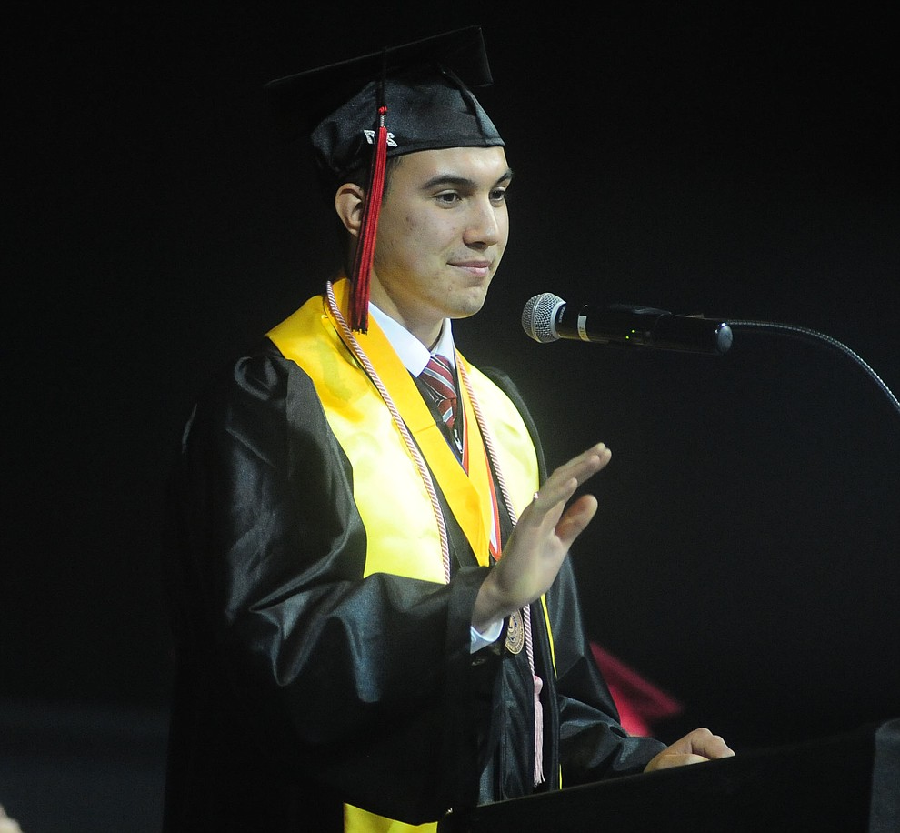 Co-Salutatorian Mako Bennett speaks as the Bradshaw Mountain Class of 2017 held their Commencement at the Prescott Valley Event Center  Thursday, May 25. The class had 346 students that earned over $5 million in scholarships and had numerous enlistees in the military service. (Les Stukenberg/Courier)
