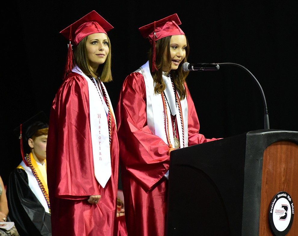 Sierra Brighton and Paetyn Prentice speak about The Rose as the Bradshaw Mountain Class of 2017 held their Commencement at the Prescott Valley Event Center  Thursday, May 25. The class had 346 students that earned over $5 million in scholarships and had numerous enlistees in the military service. (Les Stukenberg/Courier)