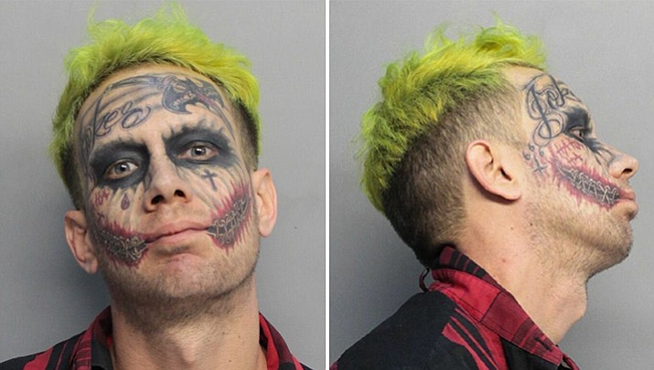 "Police say Lawrence Sullivan, a self-described ""tattoo model,"" was arrested in Miami-Dade County, Fla., on Tuesday, May 23, 2017 and charged with carrying a concealed firearm. (Miami-Dade Corrections and Rehabilitation Department via AP)"