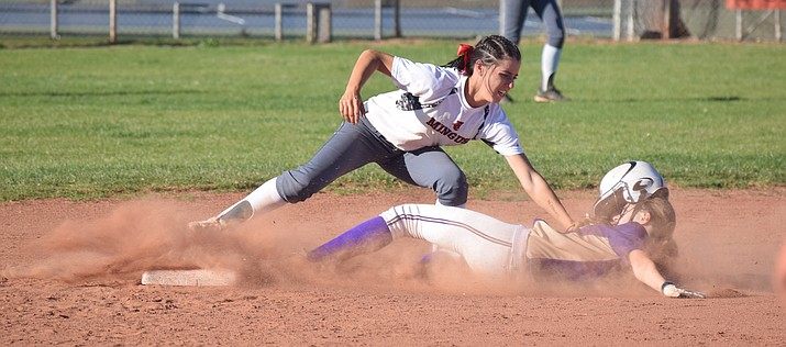 Mingus Union sophomore captain Maddie Bejarano was named first team all-conference and the Grand Canyon Region offensive player of the year. She batted .626, had an on base percentage of .685, 39 RBIs and 49 runs this season. She now owns eight of the 12 Mingus softball records. (VVN/James Kelley)