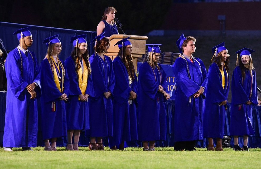 Principal Stephanie Hillig honors the Student Body and Senior Class officers as the 345 members of the Prescott High School Class of 2017 held their Commencement on Bill Shepherd Field Friday, May 26. (Les Stukenberg/Courier)