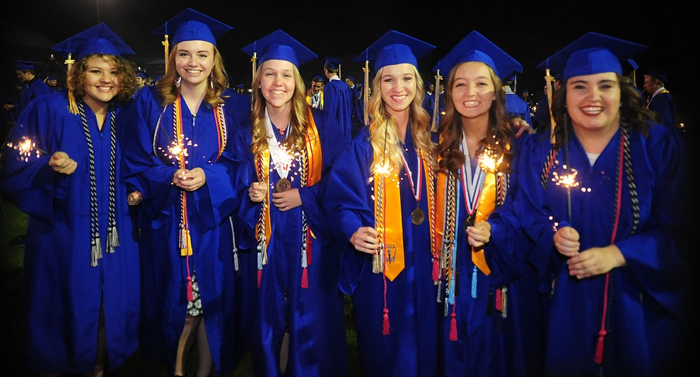 Lighting of sparklers followed the presentation of diplomas as the 345 members of the Prescott High School Class of 2017 held their Commencement on Bill Shepherd Field Friday, May 26. (Les Stukenberg/Courier)