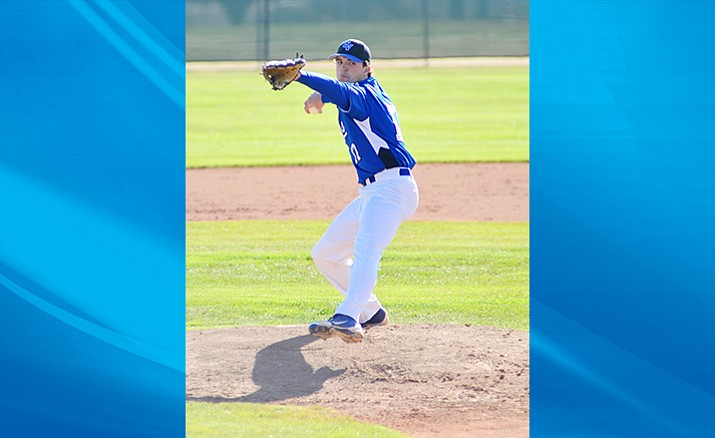 Gavin Collins pitches at Camp Verde while in high school in 2012. After playing at Muscatine Community College and University of Illinois at Springfield, Collins signed with the professional Westside Wooly Mammoths in metro Detroit. (VVN File Photo)