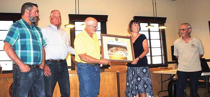 The Clarkdale Council acknowledges Town Manager Gayle Mabery's 25th anniversary working for the town during a special meeting May 23. (VVN/Jennifer Kucich)