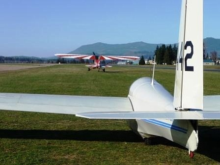 An ultra glider rests during airfield activities in Arlington, Washington.