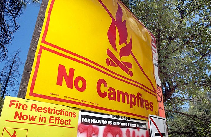 The Prescott National Forest will start tighter restrictions for camp fires beginning May 4. (Les Stukenberg/Courier)