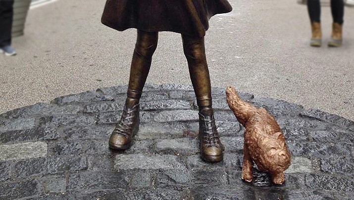"The urinating dog's sculptor, Alex Gardega, said he thinks ""Fearless Girl"" is a disrespectful publicity stunt and ""has nothing to do with feminism."""