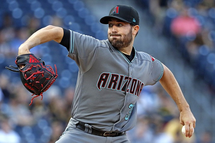 Arizona Diamondbacks starting pitcher Robbie Ray delivers in the first inning of a baseball game against the Pittsburgh Pirates in Pittsburgh, Tuesday, May 30, 2017. (Gene J. Puskar/AP)