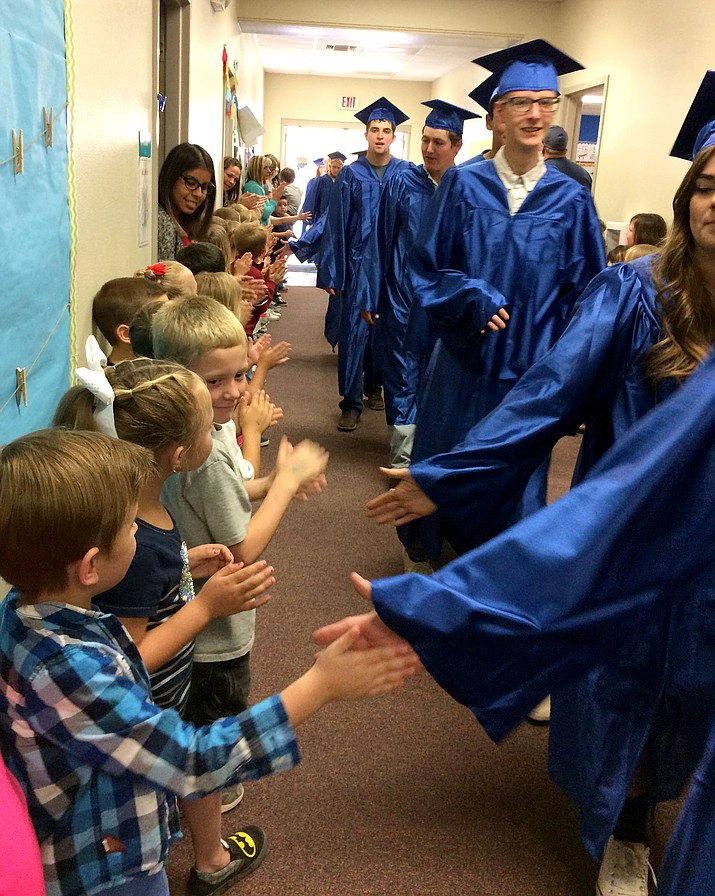 Seniors and kindergartners at Chino Valley's first Senior Walk.