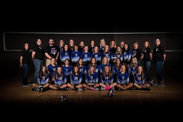 The Desert Stars Volleyball Club 14U, 16U and 18U teams pose for a photo.