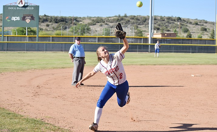Camp Verde senior Kayla Hackett runs to catch a fly ball. Hackett was second team All-2A and region player of the year after hitting .568 with an on base percentage of .657. She was also All-Conference in basketball. (VVN/James Kelley)
