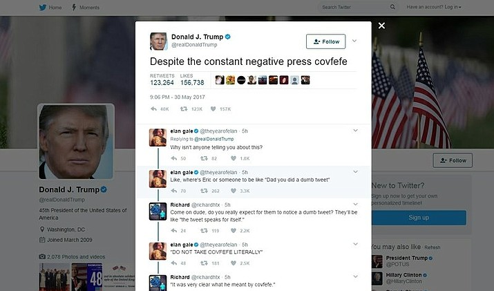 "This screen grab shows a tweet from President Donald Trump which has social media trying to find a meaning in the mysterious term ""covfefe."" Trump tweeted just after midnight Eastern time on Wednesday, May 31, 2017: ""Despite the constant negative press covfefe.""  (Twitter via AP)"
