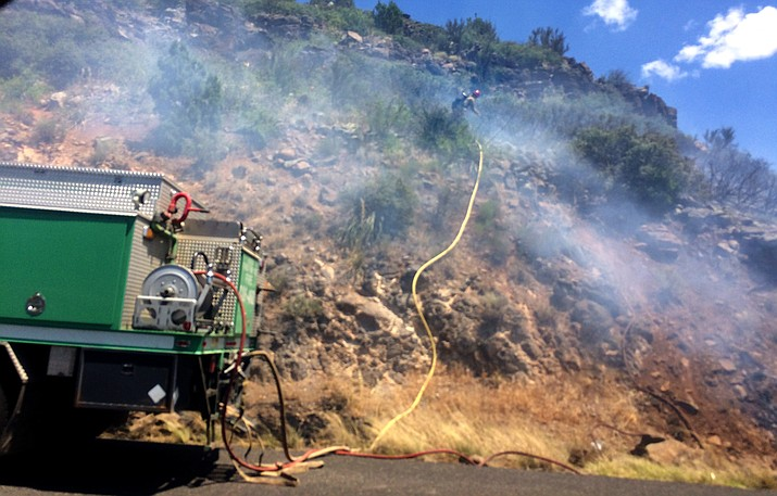 Fire officials noted that Thursday's fire along Interstate 17  was extremely challenging even though small in size due to the steep and rocky terrain. (VVN/Vyto Starinskas)