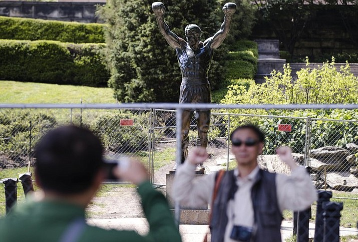 Philadelphia Department of Parks and Recreation said the Rocky statue will be closed to tourists for two weeks while improvements are being made to the site surrounding the statue at the head of the Benjamin Franklin Parkway. (AP Photo/Matt Rourke)