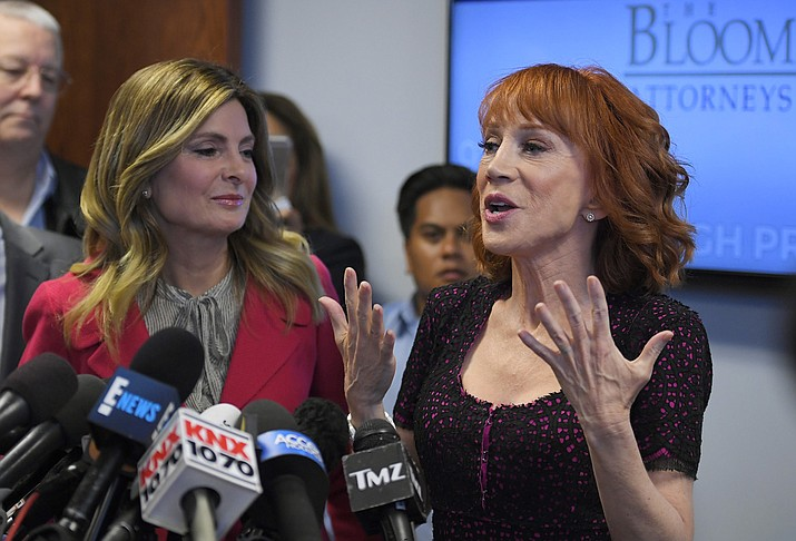 Comedian Kathy Griffin, right, speaks along with her attorney Lisa Bloom during a news conference, Friday, June 2, 2017, in Los Angeles. (AP Photo/Mark J. Terrill)