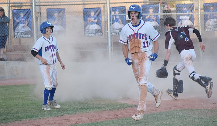 Camp Verde senior Ryan Cain scores against Northland Prep on April 25. The Cowboys won the de facto 2A Central championship game 6-5 in 9 innings. Verde Valley high school baseball and softball teams won three of four possible region titles. (VVN/James Kelley)