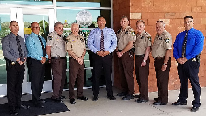 Pictured from left: Chief Deputy Dean McKie, Posse Coordinator Randy Barchalk, Posse members Dave McNally and Jim Byrne, Sheriff Doug Schuster, Posse members Tom Brown, Jack Norris and Mike Rose and Undersheriff Ed Trafecanty.  (Not pictured is Posse Member Larry Kersich).