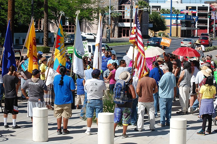 The Culture Walk on Earth Day April 22, 2012, where the Moapa Band of Paiutes and its allies walked 50 miles from the coal power plant to the federal building in downton Las Vegas.