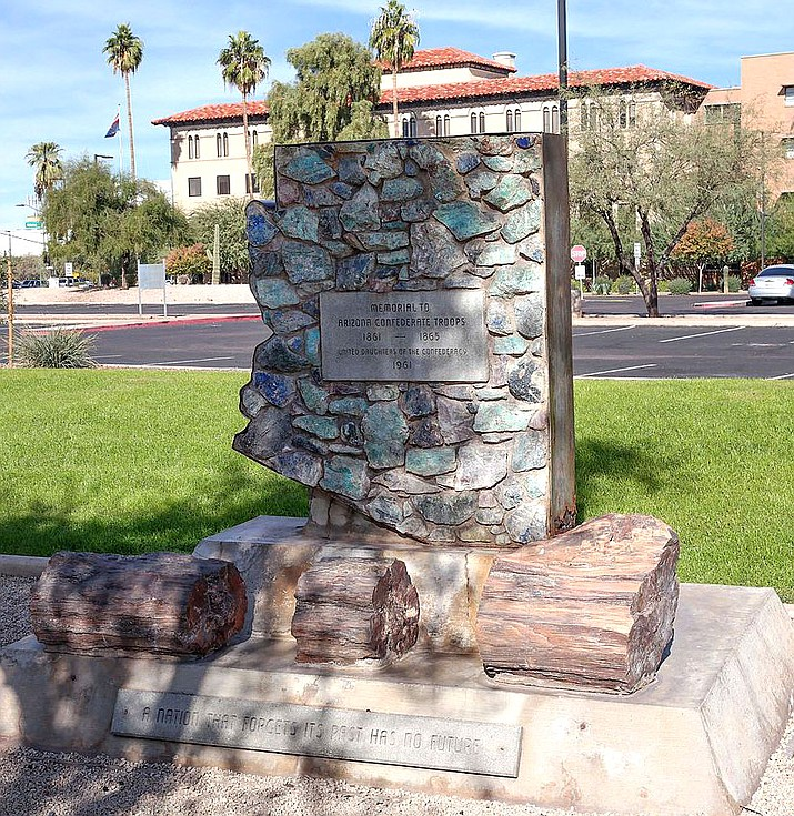 A confederate monument in the Wesley Bolin Memorial Plaza in Phoenix.