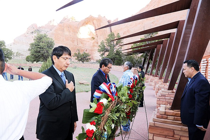 Navajo Nation Vice President Jonathan Nez and President Russell Begaye pay their respects during a Memorial Day ceremony May 29.