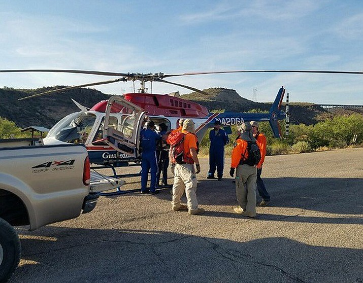 SAR Crews rescue a man from Burro Creek Saturday.