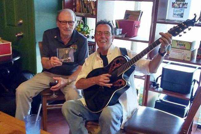 "Singer-songwriter Billy Kay released his song, ""You'll Know I'm There,"" with all proceeds from downloads going to the River Fund Cancer Connection. He raised $164 from a release party and gave it to Mike Conner, holding CD, head of the River Fund."