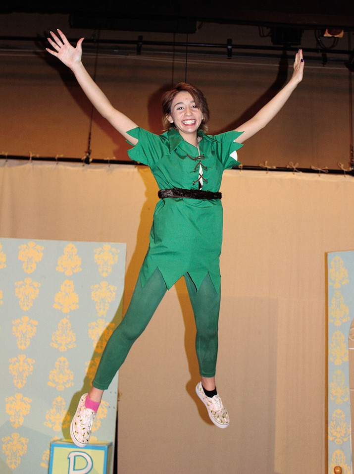 Cassidy Abramson soars through the air as Peter Pan.