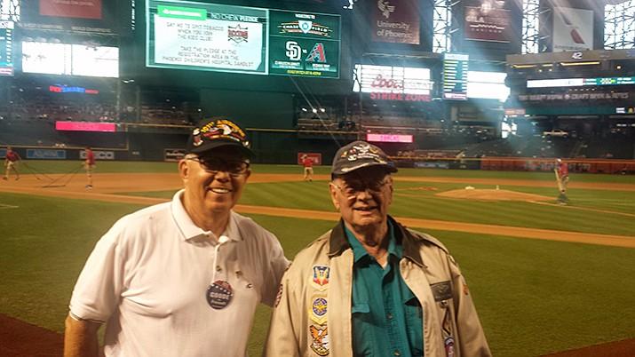 Phil Goode, left, stands with David Hamilton at the Diamondbacks baseball game Tuesday. (Phil Goode/Courtesy)