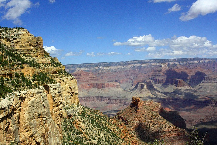 View of the layered canyon walls from Bright Angel Trail, Grand Canyon.