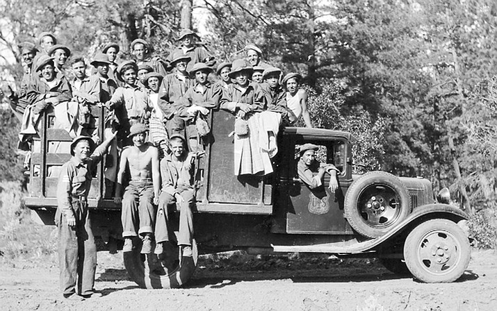 Civilian Conservation Corp workers pile onto a truck for a job on the Kaibab National Forest in the 1930s.