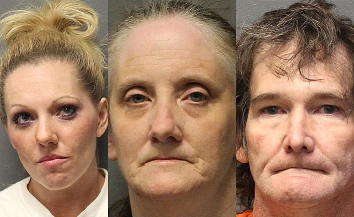 From left, 27-year-old Misty Esler, 55-year-old Johanna Johnson and 52-year-old Bryan Ritter, all of Cornville. (Photo courtesy of YCSO)
